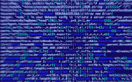 3D illustration. Abstract blue background, Technology. Binary Computer Code.