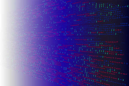 3D illustration. Abstract blue gradient background, Technology. Binary Computer Code.
