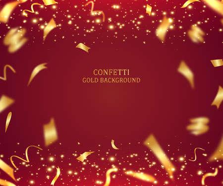 Illustration de fond de vacances 3D avec ruban d'or brillant et guirlandes sur fond rouge