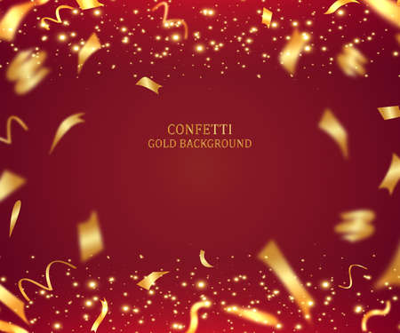 3D holiday background illustration with shiny gold ribbon and tinsel on red background Vectores