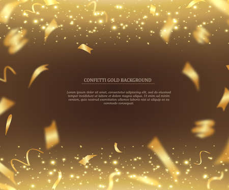Celebration template with gold confetti and gold ribbons 向量圖像