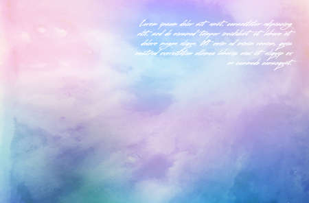 Hand painted watercolor sky and clouds. Abstract watercolor background, vector illustration