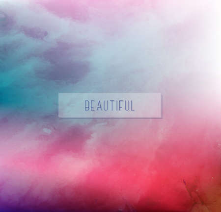 Hand painted watercolor sky and clouds, sunset. Abstract watercolor background, vector illustration