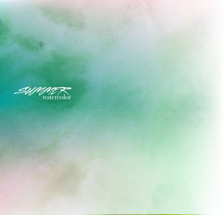 Hand painted in watercolor. Abstract greenish background. Summer vector illustration
