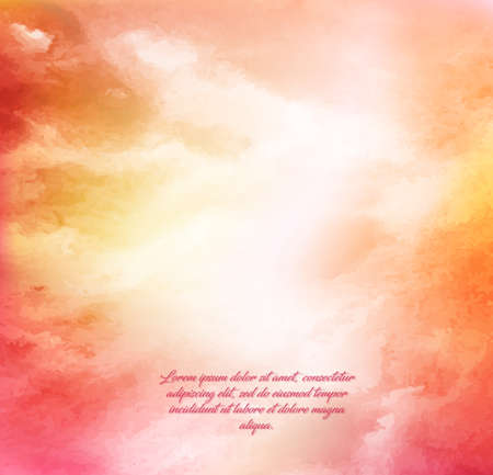 Hand painted in watercolor. Dawn sky, reddish-yellow clouds. Abstract watercolor background, vector illustration