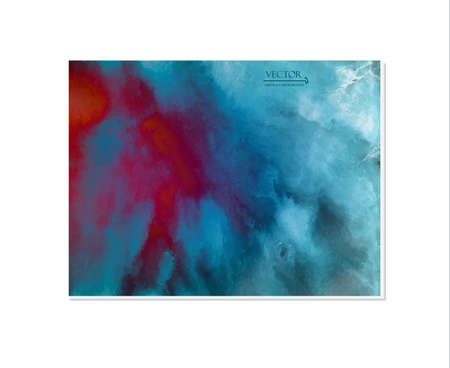 Hand painted in watercolor. Bright colors, turquoise-red-blue gradient. Abstract background. Illustration