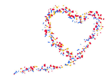 Colorful confetti in the shape of a heart, on a white background