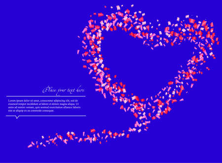 Colorful confetti in the shape of a heart, on a blue background
