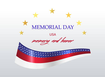 Memorial day in the United States. The national flag with inscription