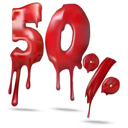 Illustration price 50 discount, melts. Vector illustration for promotion discount sale advertising. 向量圖像