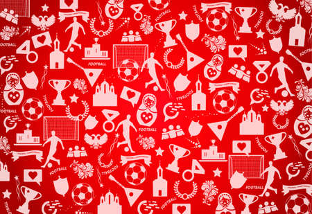 Red background with Russian drawings, elements, patterns.
