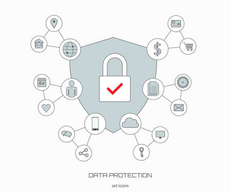 Data protection icons. Vector set of icons in flat style.