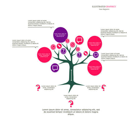 Illustrated graphics for the layout workflow. Tree as a business template for your presentation 向量圖像