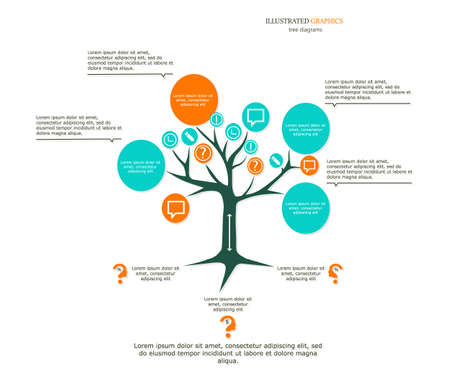 Tree as a business template for your presentation. Illustrated graphics for the layout workflow.