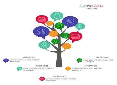 Illustrated graphics for the layout workflow. Tree colorful as a business template for your presentation