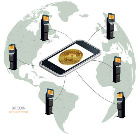 Physical coin. Digital currency. cryptocurrency. Bitcoin around the world in ATMs, bitcoin terminals. Bitcoin in the phone.