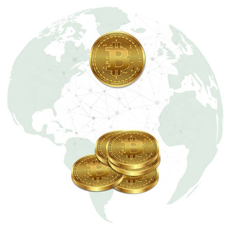 Gold bitcoin on a banner with the image of planet earth, with blockchain elements