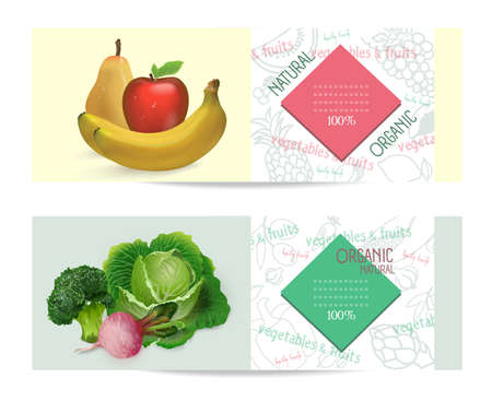Advertising banner with vegetables and fruits on the topic of healthy eating. Ready design.
