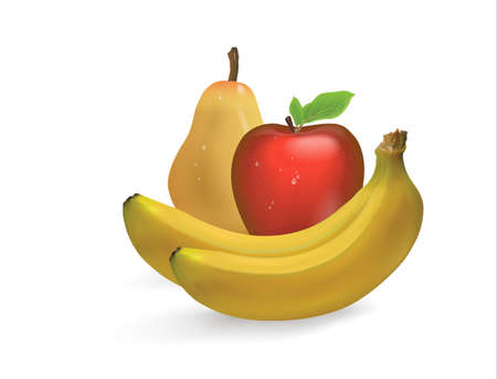 3D illustration of a set of ripe banana fruit, Apple, pear isolated on white background 向量圖像
