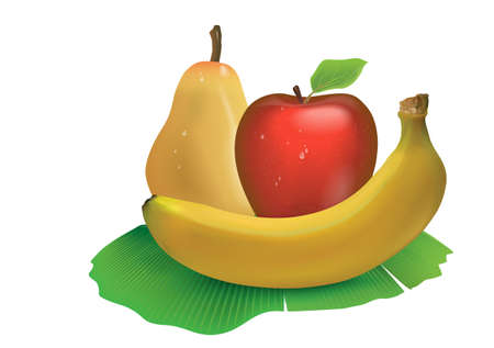 Realistic set of ripe banana fruit, Apple, pear isolated on white background. Gradient meshes were used to create a three-dimensional effect.