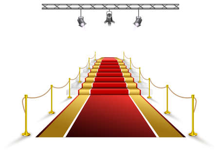 Red carpet event, with white marble stairs and gold queue rope barriers posts stands realistic vector illustration