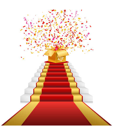 Staircase with red carpet. Prize, gift boxes. Realistic illustration