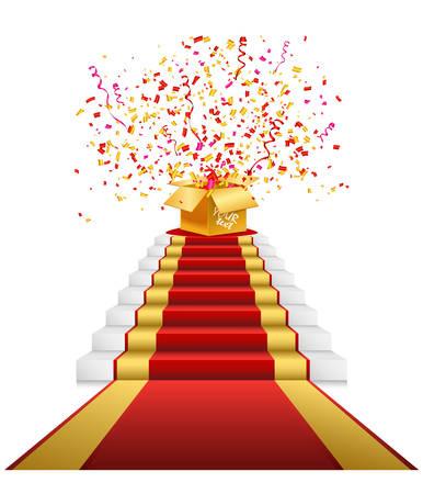 Red carpet, golden gift box with confetti 版權商用圖片