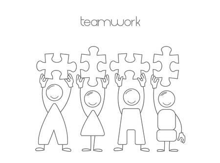 Simple set: people, puzzle as a symbol of teamwork. Team, office business 版權商用圖片