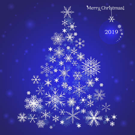 White snowflake Christmas tree on a blue background. Christmas vector card 2019 year.