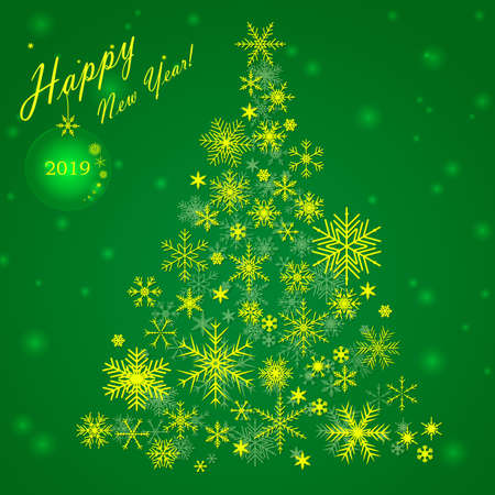 White snowflakes on Christmas tree on green background. Christmas vector map
