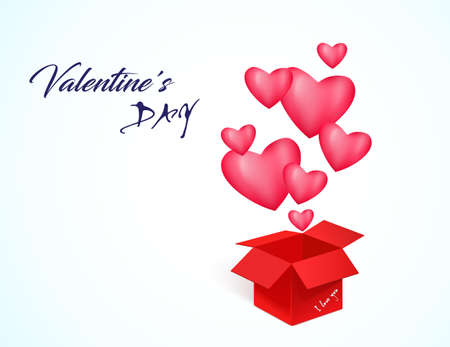 Valentine's day greeting card. Red box with air 3 D hearts.