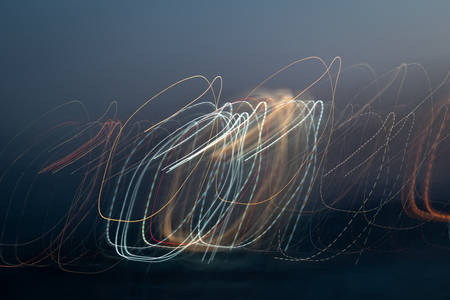 Lines of light in motion. Freezelight photography, city lights
