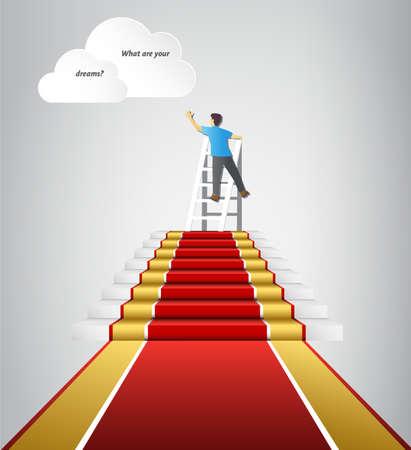 Sigue tus sueños, completa las tareas para llegar a tu meta Ilustración de vector