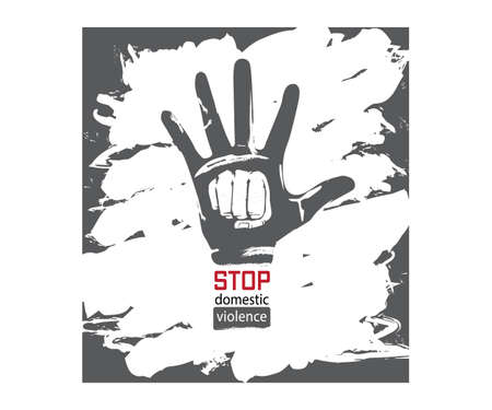 Stop Domestic Violence Stamp. Vector poster gray