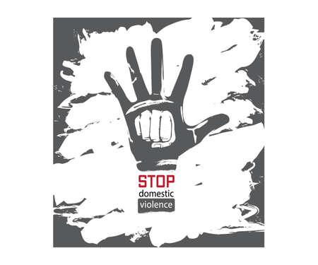 Stop Domestic Violence Stamp. Illustration