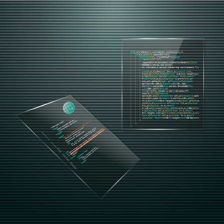 Glass display and open source software. Programming. Illustration