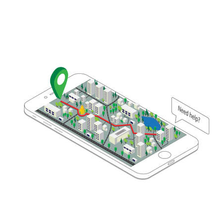 3d isometric mobile GPS navigation concept, Smartphone with city map application and marker pin pointer 向量圖像