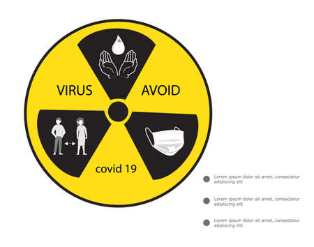 Coronavirus warning and attention icon. Exclamation mark health danger sign, COVID-19 or 2019-nCoV epidemic and pandemic symbol. Simple flat logo template for medical Infographic.