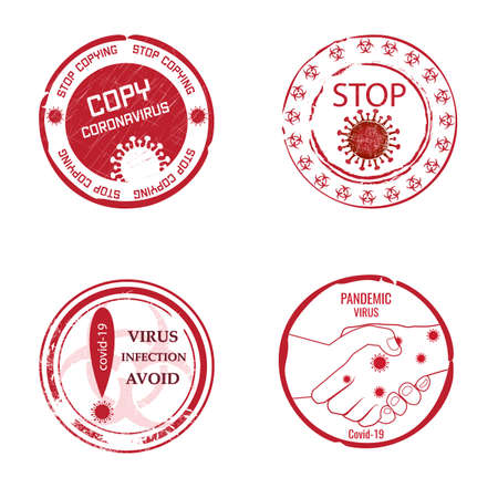Avoid contact .Round red stamps with text, danger of coronavirus spread of the pandemic among people.