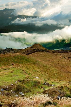 ecuador: Pichincha volcano covered with heavy clouds in nearby of Quito, Ecuador