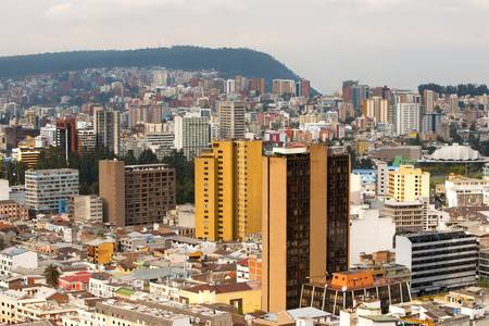 quito: Quito, Ecuador. Modern buildings in the north part of the city Stock Photo