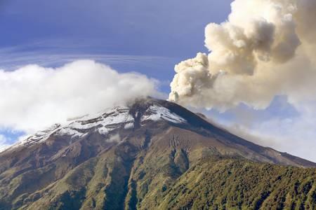 tungurahua: Tungurahua volcano smoking, 27.11.2010 , Ecuador, South America. 8am Stock Photo