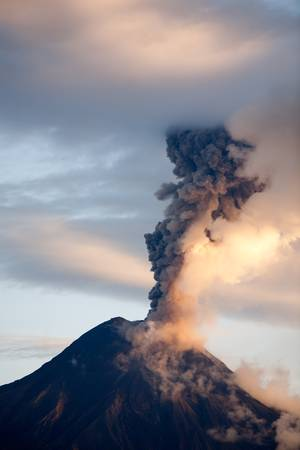 volcanic landscape: Tungurahua volcano eruption , 06.12.2010 , Ecuador, South America.4pm local time
