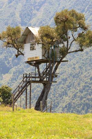 Tree house near Banos , Ecuador. Best place to watch Tungurahua volcano in this area. Stock Photo