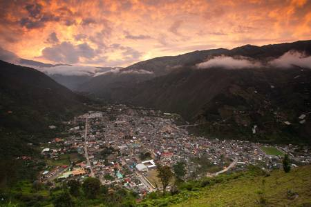 tungurahua: Ba�os Canton is a canton of Ecuador, located in the Tungurahua Province. It is also a place with many touristic atractions , waterfalls and thermal water beeing most important. Stock Photo