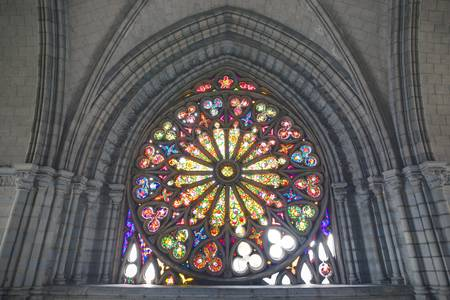 stained glass window in Basilica Del Voto Nacional, Quito, Ecuador