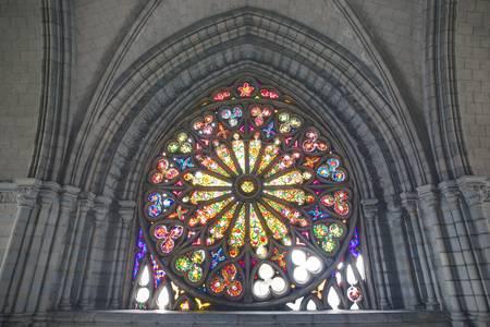 quito: stained glass window in Basilica Del Voto Nacional, Quito, Ecuador