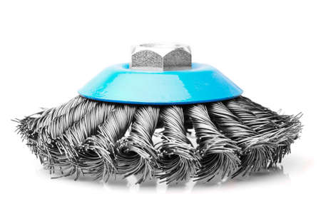 small rotative brush used for metals, studio isolated shot photo