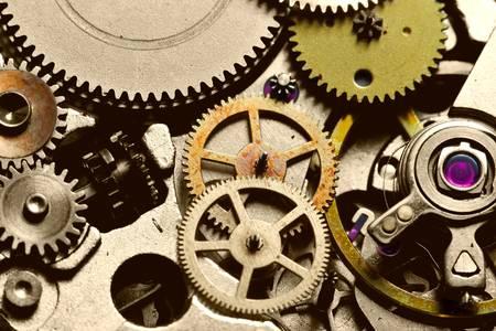 precise: complex mechanism inside of a wristwatch. 3:1 lifesize macro.