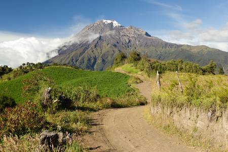 tungurahua: Road in the highlands of Andes leading the viewer to the Tungurahua volcano.